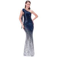 Angel-Fashions Женская асимметричная лента постепенного блестья русалки платье выпускного вечера вечернее платье формальное платье 286