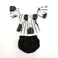 Baby girls Off shoulder outfits Floral stripe print tops+ Blo...