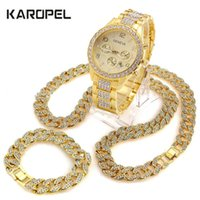 "Iced Out Orologio 18 ""Cuban Link Catena Collana 8.5"" Braccialetto Bundle Set"