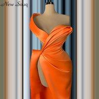 2020 Naranja atractiva alta de Split vestidos de noche del estilo árabe con pliegues sirena piso-longitud formal Prom Vestidos