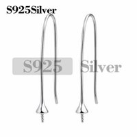 925 Sterling Silver Earwires for Half Drilled Pearl Beads Ho...