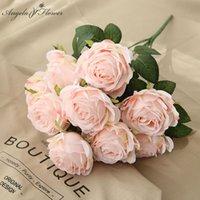 10 голов искусственные цветы розы шелка свадебный букет домашнего декора вазы партия расположение сада Hotal растений День Святого Валентина подарок