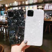 아이폰 11 11Pro 11Pro 최대 블링 조가 쉘 에폭시 실리콘 반짝이 소프트 TPU 커버를 들어 광택 대리석 케이스