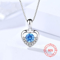 excellent bling rhinestone beautiful tiny heart pendant 925 ...