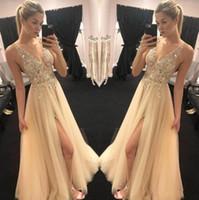 Bedövning amerikansk prom klänningar sexig v hals sheer topp pärlstav pärlor tulle vogue front slit kväll klänningar fest klänningar boho engagemang klänning