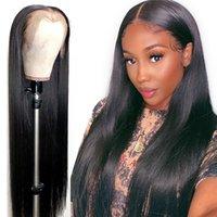 13x6 pieza profunda de la parte profunda cordón recto frontal pelucas de cabello humano pre arrollado color natural