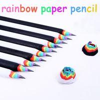 kawaii pencil lot rainbow pencil for kids environmental paper school pencils writing graphite pencil colored wholesale