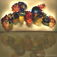 Moderna Art Deco Bocca Bocca Blown Platelli Muro di vetro Flower Art Lastre di vetro Blown Glass Murnao Wall Art Plates Decorazione dell'hotel