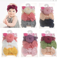 3pcs Bebés Meninas Knot Bola Donut Headbands Bow turbante / set infantil Elastic Hairbands Crianças Knot Headwear filhos Cabelo Acessórios DHL frete