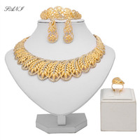 Fani Dubai Gold Jewelry는 여성용 패션 진술 세트 브랜드를위한 도매 이탈리아 신부 보석 세트를 설정합니다.