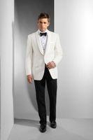 Smoking da sposa per lo sposo Groomsmen Scialle Risvolto Giacca avorio Blazer Pantaloni neri Da uomo Occasioni formali Dinner Prom Party Suits Custom Made