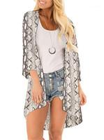 Floar imprimé à manches longues plage femmes Cap Femmes Mode desserrées Eloignez les vêtements d'été en mousseline de soie Bask Chemisier crème solaire