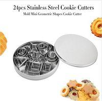비스킷 금형 스타 스테인레스 스틸 쿠키 과자 금형 기하학적 하트 커터 베이킹 금형 미니 케이크 베이킹 금형 공구 24PCS ZYQ507