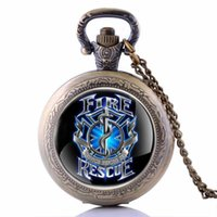 Hot Antique Steampunk Bronze AC DC Hells Bell Pattern Pocket Watch With Pendant Chain Flower Craving Back Watch Men Gift