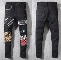 New Italy Style Men' s Distressed Hole Patches Stretch D...