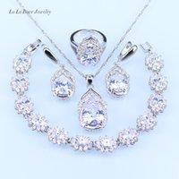 Lb Avustralya Kristal Su Damlası Gümüş Kadınlar Bilezik 925 Takı Setleri / küpe / kolye / kolye / J190705 yüzük