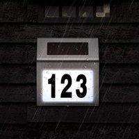 Numéros de maison Solar Adresse Nombre Signage Convient pour Maison chambre en acier inoxydable plaque d'immatriculation Lumière Convient pour l'extérieur Rue de jardin