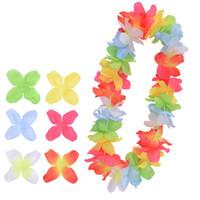 Plaj Partisi Düğün Bahçe Şenlikli Dekorasyon Çiçek HHA1150 için Hawai Çelenkler Yapay İpek Çiçekler Çok Renkli kolye
