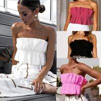 2020 colore solido di modo increspature Crop Tops Donne Boho Cami della maglia senza spalline serbatoio Top Femminili Estate Bianco Nero