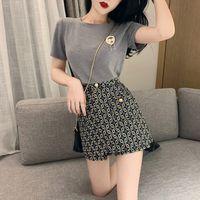 2019 neue Französisch Stil Damenmode Kurzarm T-Shirt und hohe Taille A-Linie Heißprägen Shorts Culottes 2 Stück Twinset S M L