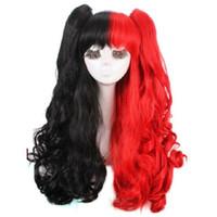 100% neue hochwertige Mode Bild volle Spitze Perücken versandkostenfreiHarley Quinn Perücke schwarz und rot lockig Cosplay Perücken + Clip Pferdeschwänze