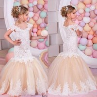 White Ivory Champagne Lace Flower Girl Dresses Lace Mermaid ...