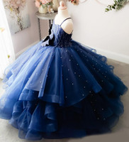 어두운 파란색 진주 어린 소녀 미인 드레스 아플리케 공 가운 꽃 소녀 드레스 결혼 얇은 명주 그물을위한 첫 번째 친교 가운