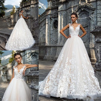 2019 Cap Sleeves Sheer Neck Abiti da sposa in pizzo Applique Sweep Train A Line Tulle Abiti da sposa su misura robe de mariée