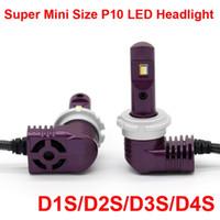 1 세트 초소형 미니 크기 CSP 칩 D1S D2S D3S D4S P10 LED 헤드 라이트 올인원 1 : 1 오리지널 램프 터보 팬 포커스 빔 35W 5200lm 6K