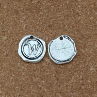 """Argent antique côté unique lettre """"W"""" disque alliage initial Charms pendentifs accessoires de bricolage 18x18.5MM 100pcs / lots A-462"""
