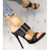 luxury black buckle snake grain slipper sandals summer slide...