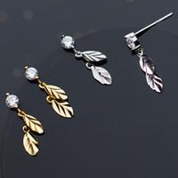 ジュエリーS925スターリングシルバーイヤリングの葉の魅力のイヤリングジルコンゴールドカラーイヤリングホットファッション