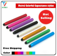 Niedrigster Preis und hochwertiger Sechseck-Metallsäule-kapazitive Touch-Stift-Stift für iPhone Sumsang Huawei 100pcs / lot