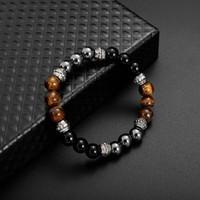 Tiger Eye Natural Stone Braceled Bracciale Bracciale Donna Mens Strands Braccialetti Gioielli di moda Volontà e sabbioso