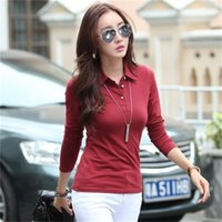 Japan Korea New Trend Lady Polo Frauen Langarm Freizeithemd Knit Cotton Polos Herbst-Winter-Stück-Rot Weiß Revers-Knopf