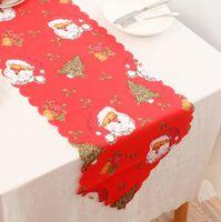 Table de Noël Drapeau 178 * 35cm Fleur Imprimé Nappe Table polyester Tissu Mat Dinning Décoration de Noël OOA7331