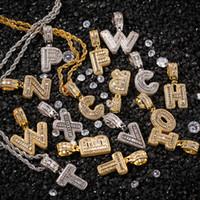 Az Baguette initiales lettres pendentif pour hommes n Femmes Micro Pave Cubique Zircon DIY Hip Hop Collier Avec Corde Chaîne