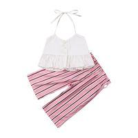 الصيف طفل الفتيات يتسابق لطيف طفل الملابس مجموعات الأزياء الرباط كشكش الرسن قمم + شريط السراويل الأطفال عارضة 2PCS مجموعات Y2846