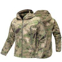 Tactical militar casaco Jacket outono dos homens camuflagem do exército jaqueta impermeável SoftShell homem blusão com capuz Camo Caça Roupa V191202