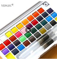 Alta calidad Pigmento Sólido acuarela Pinturas conjunto con color de agua de la pluma del cepillo portátil para profesionales de la pintura Material de bellas artes