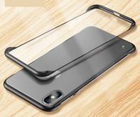 Senza telaio Bumper ibrida trasparente opaca caso della copertura posteriore per Iphone 6 6s PLUS 7 8 più X XS XS XR MAX 100PCS / LOT
