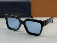 homens óculos óculos escuros de grife milionário 1165 quadrado moldura preta lente azul novo topo de cor de qualidade de verão lentes exterior uv400 sol