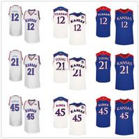 Kansas Jayhawks Colegio # 12 # 21 Chris Teahan arcilla joven # 45 Cole Aldrich jerseys del baloncesto para hombre cosido encargo cualquier Número Nombre