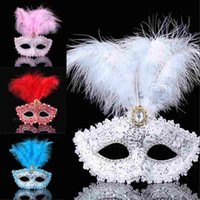 Color Premium Leather Feather Mask Masquerade Parties Hallow...