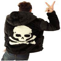 улица мода череп глава искусственного меха бомбардировщик куртка с капюшоном хип-хоп искусственного меха куртки мужчины куртка