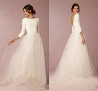 Simple Cheap Princess Wedding Dresses Bridal Gowns V Backles...
