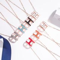 Ожерелье стерлингового серебра 925 с эмалью H-образным ожерельем во многих цветах длиной 50см H Слова для мужчин и женщин Ювелирные изделия