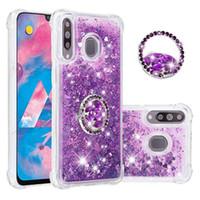 Bling liquide Quicksand Cas de téléphone pour Samsung Galaxy Note9 Note 10 A50 A70 A40S A20 A30 A20 A3 A7 A7 A7 M30 M20 M20 Bague en diamant Couvercle TPU