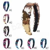 Reversible Sequin Headband Flip double-sided Hair Clasp Glitter Hair Sticks Hairband For Women Girl Non-slip Head Hoop Party Favor GGA1622