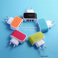 Ücretsiz kargo! ABD AB Tak USB Duvar Şarjları LED Adaptörü Seyahat Üçlü USB Bağlantı Noktaları ile Uygun Güç Adaptörü